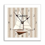 Sailboat Wall Clock with Narrow Frame