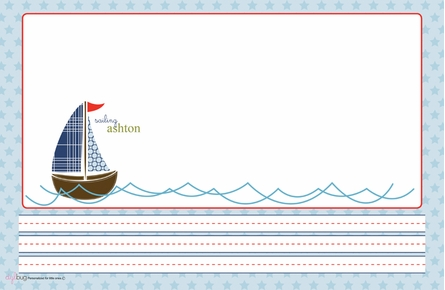 Sailing Skipper Personalized Kids Reversible Placemat