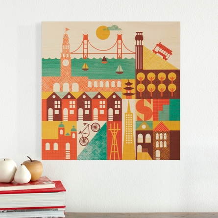 San Francisco Square Jumbo Wood Panel Art Print