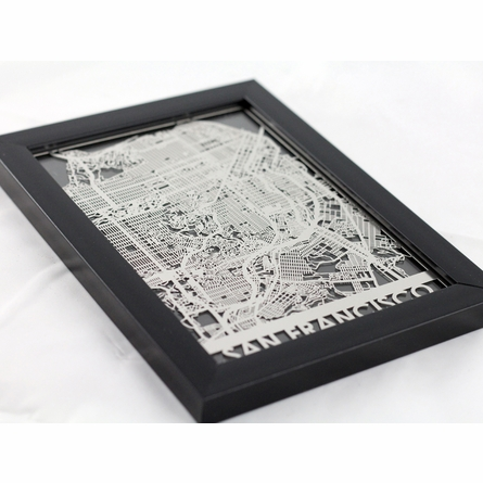 San Francisco Stainless Steel Framed Map