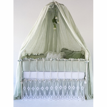 Satin with Velvet Ruffle Crib Bumper