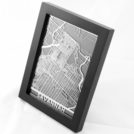 Savannah Stainless Steel Framed Map