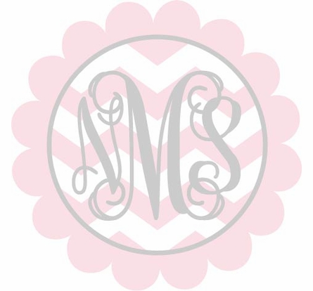 Scalloped Monogram Chevron Personalized Fabric Wall Decal