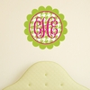 Scalloped Monogram Houndstooth Personalized Fabric Wall Decal