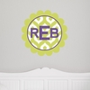 Scalloped Monogram Ikat Personalized Fabric Wall Decal