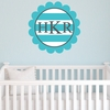 Scalloped Monogram Stripes Personalized Fabric Wall Decal