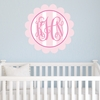 Scalloped Monogram Vertical Stripes Personalized Fabric Wall Decal