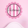 Scalloped Vertical Stripes Personalized Fabric Wall Decal