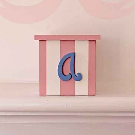 Script Initial Striped Tissue Box Cover