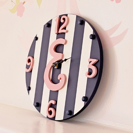 Script Initial Striped Wall Clock