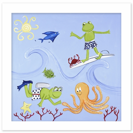 Scuba Frog Canvas Reproduction