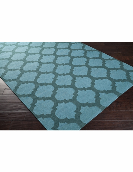 Sea Blue and Teal Green Trellis Frontier Rug
