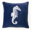 Seahorse Velvet Embroidered Pillow