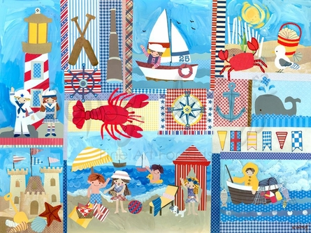 Seaside Playtime Canvas Wall Art