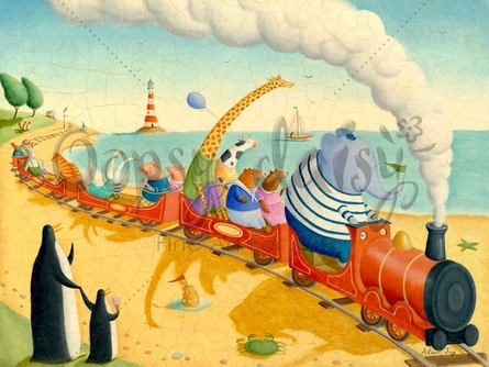 Seaside Train Ride Canvas Wall Art