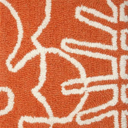 Seasons Round Rug in White and Persimmon Orange