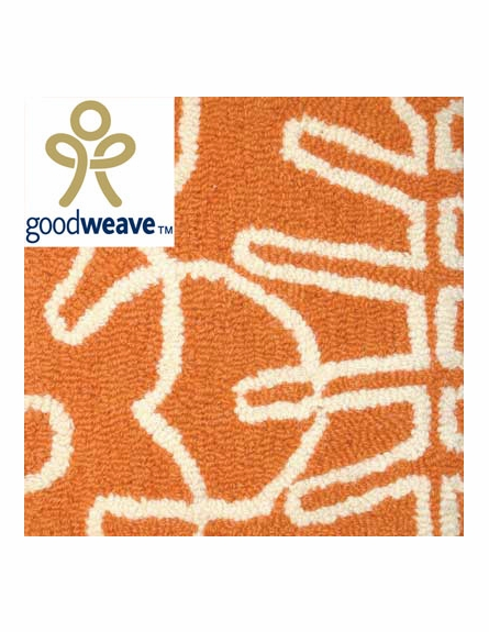 Seasons Rug in White & Persimmon Orange - Large