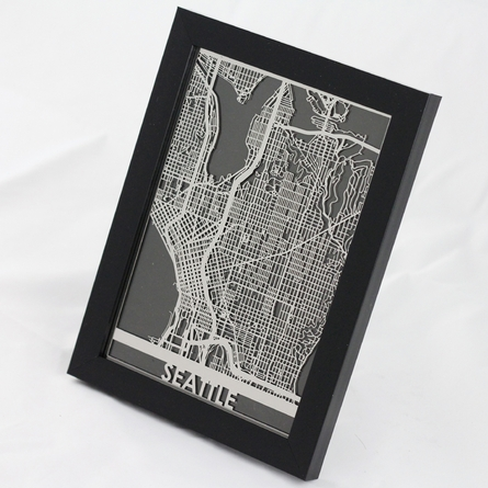 Seattle Stainless Steel Framed Map