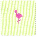 Seersucker Flamingo Doodlefish Fabric by the Yard