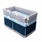 Seersucker Stripe Navy Crib Bedding Set
