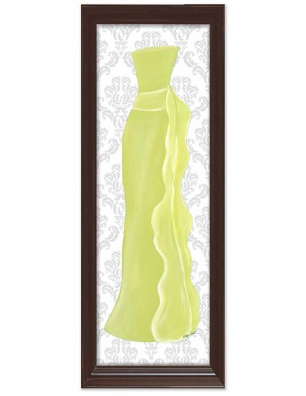 Shades of Green Dress with Damask Background Canvas Reproduction