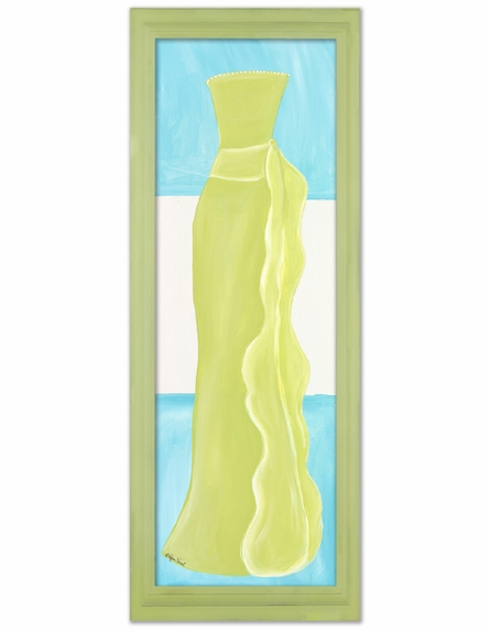 Shades of Green Dress with Stripe Background Canvas Reproduction