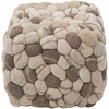 Shag Pouf in Oyster Gray