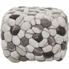 Shag Pouf in Winter White and Jet Black