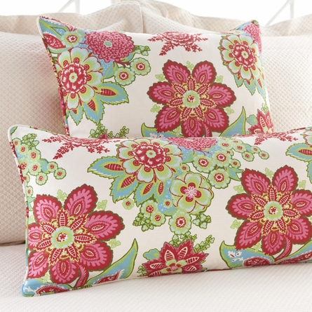 Shalini Ivory and Raspberry Square Pillow