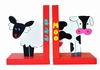 Sheep and Cow Wooden Bookends
