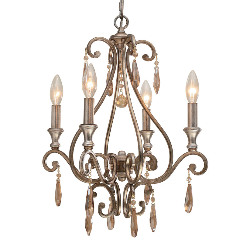 Shelby Distressed Twilight Mini Crystal Chandelier by