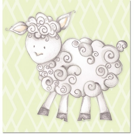 Shelby Sheep in Green Canvas Reproduction