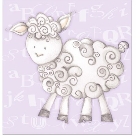 Shelby Sheep in Lavender Canvas Reproduction