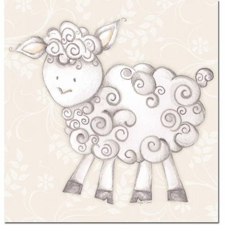 Shelby Sheep in Tan Canvas Reproduction