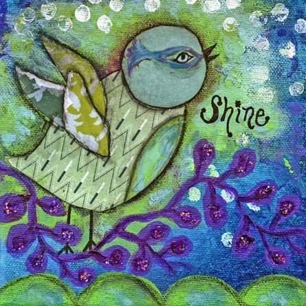 Shine Birdie Canvas Wall Art