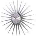 Shining Silver Sunburst Wall Clock