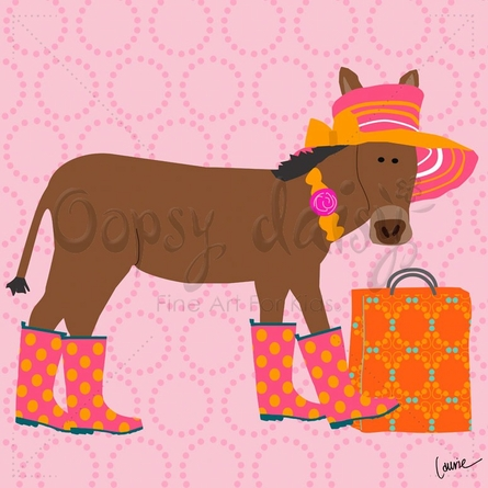 Shopping Donkey Canvas Wall Art