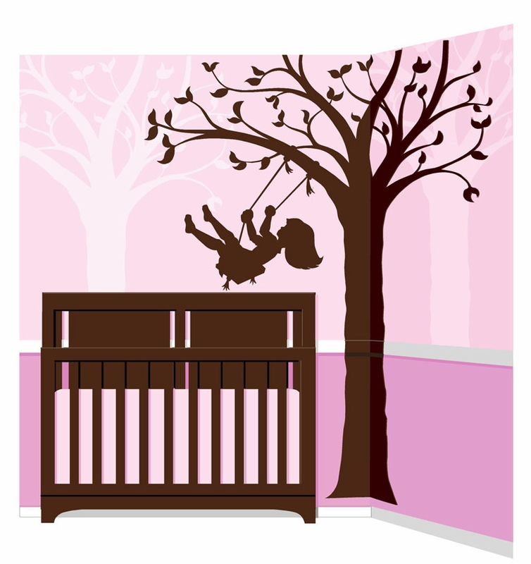 silhouette swing paint by number wall mural by elephants. Black Bedroom Furniture Sets. Home Design Ideas