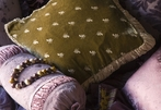 Silk Velvet Embroidered Square Throw Pillow