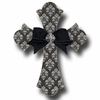 Silver Brocade Cross Coal Wall Plaques
