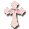 Silver Brocade Cross Rose Wall Plaques