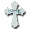 Silver Brocade Cross Sky Wall Plaques