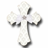 Silver Brocade Cross Snow Wall Plaques