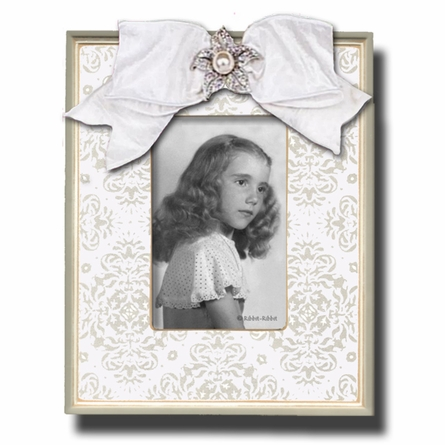 Silver Brocade Snow Picture Frame