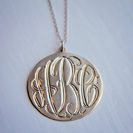 Silver Engraved Monogram Necklace - Script