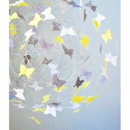 Silver Lining Yellow and Grey Butterfly Mobile