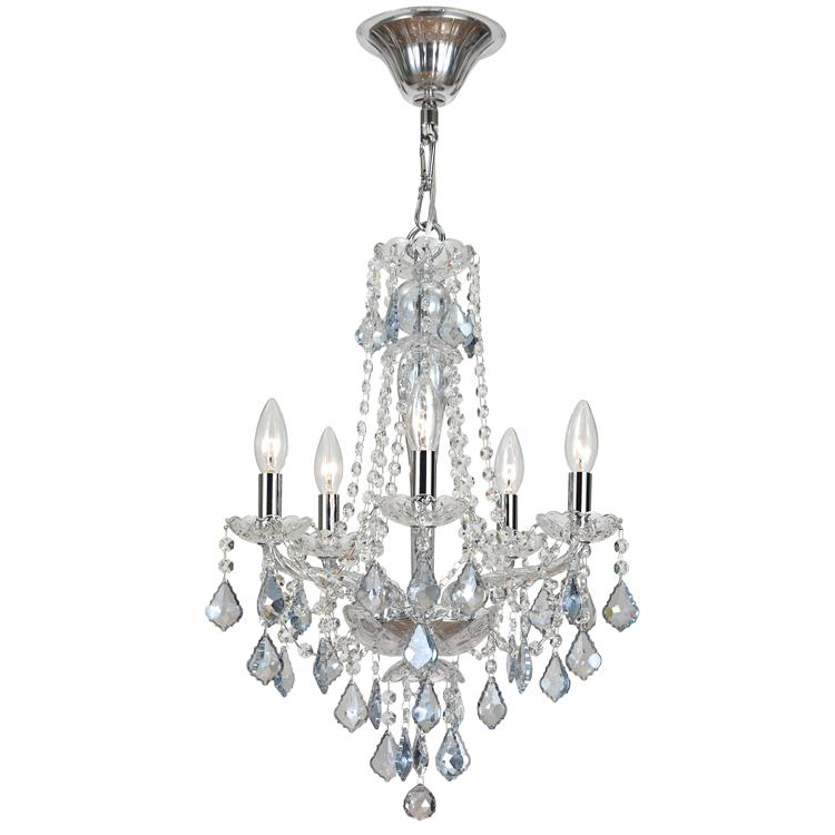 Simone Five Light Blue Crystal Mini Chandelier by Crystorama