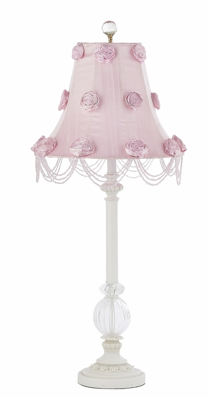 single glass ball lamp base in white with pink rose swag shade. Black Bedroom Furniture Sets. Home Design Ideas