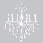 Six Arm Glitz White Beaded Chandelier with Glass Center