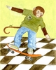 Skater Monkey Canvas Reproduction
